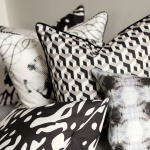 Pillows arranged on bench - Grabado in Carbon, Echo, Jinete, Cubo in Carbon/Paloma/Crema