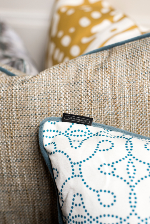 Pillows, Vista Hermosa and Terciopelo in Cenote, Textura in Miel, Grabado in Miel, Echo Lumbar Pillow, Ivan Meade